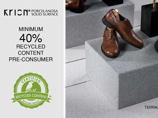 KRION® refuerza su Compromiso Social, ampliando su Certificado SCS – 40% Mínimo Contenido Reciclado en Terrazos Series