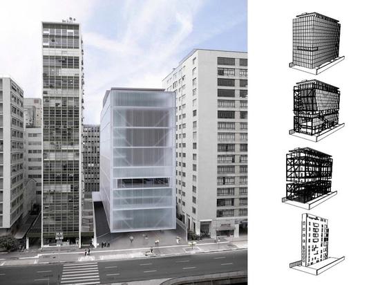 IMS – concepto de MOREIRA SALLES de INSTITUTO del arquitecto Andrade Morettin. Estructura por YCON Engenharia.