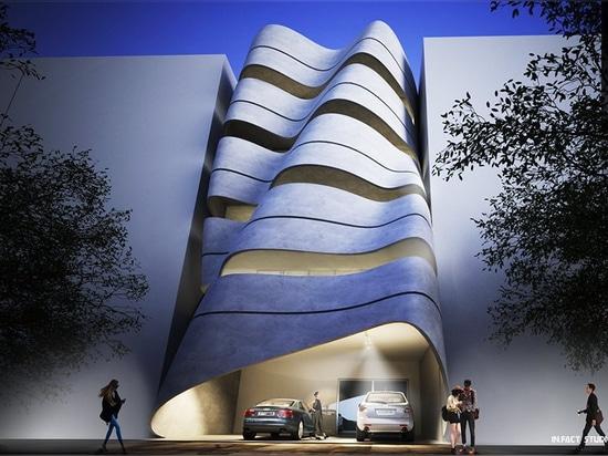de hecho el estudio desafía el paisaje residencial de Nueva Deli con una fachada curvada ligera