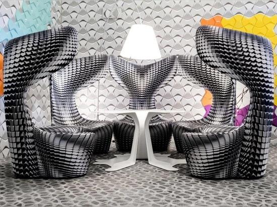 La silla del tambor de Mac Stopa para Cappellini es un tributo a los cojines hexagonales del tambor a partir de los años 80. Cortesía de la fotografía del diseño masivo.