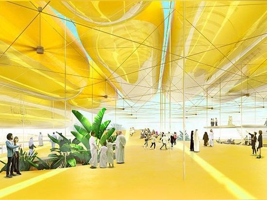 expo 2020: el selgascano + FRPO proponen el toldo de los cilindros inflables para el pabellón español