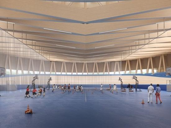el complejo hundido de los deportes del mecanoo + de los metaform en Luxemburgo incluirá el velódromo de la madera