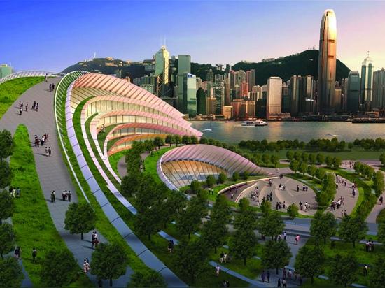 ESTACIÓN DEL OESTE DE KOWLOON EN LA PISTA A HACER NUEVA SEÑAL DE HONG KONG