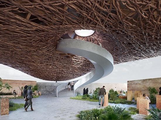 kozlowski + cardia proponer un pabellón flotante de las ramas de árbol para la expo 2020 de Dubai