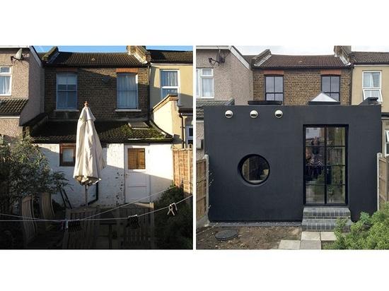 El caucho negro cubre la extensión en esta casa en Londres