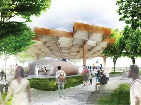 la cuadrilla del estudio + SCAPE revelan planes para reajustar un parque de costa en Memphis, Tennessee