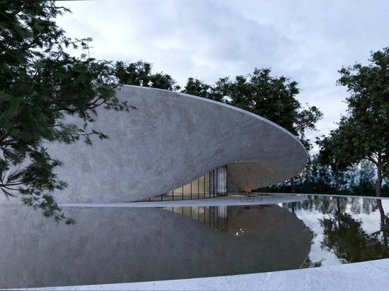 el gibón de Antonio traduce la superficie de la tira de mobius a casa concreta escultural