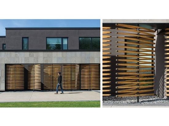 Detalle del diseño arquitectónico – pantallas de madera que giran