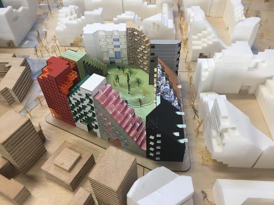 Bloque de Manuelle Gautrand Designs Futuristic Housing para Amsterdam