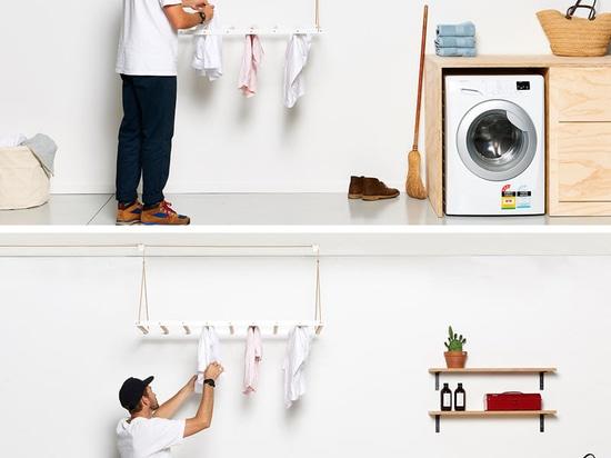 Desde subidas calientes del aire, esto suspendida secando el estante es diseñada para aprovecharse de eso elevando la ropa hasta el techo