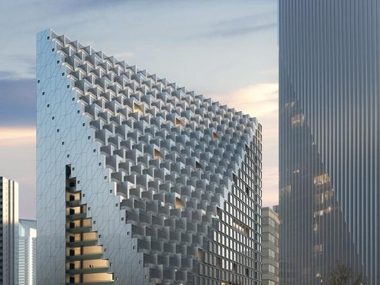 OMA rompe la tierra en la prisma de Hangzhou del xinhu en el distrito financiero central futuro de la ciudad