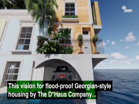 El D*Haus Company diseña homenaje inundación-resistente a la arquitectura georgiana