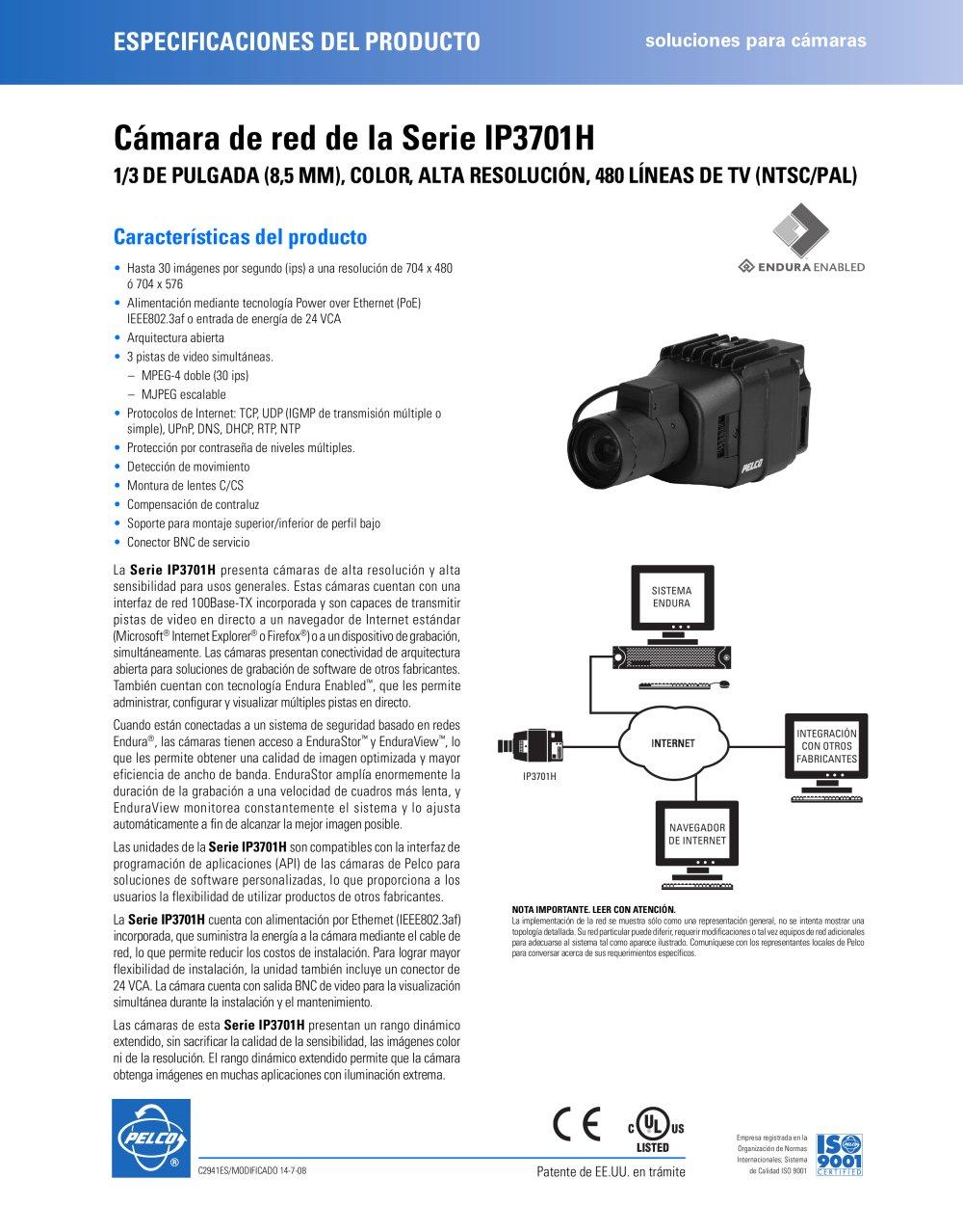Cámara de red de la Serie IP3701H - PELCO - Catálogo PDF ...