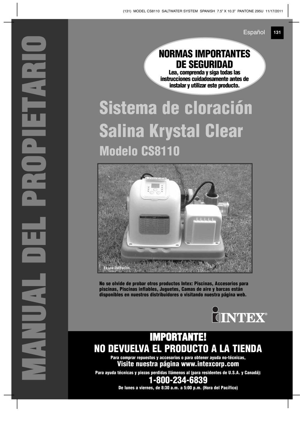 Sistema de cloración Salina Krystal Clear Modelo CS8110 - INTEX ...