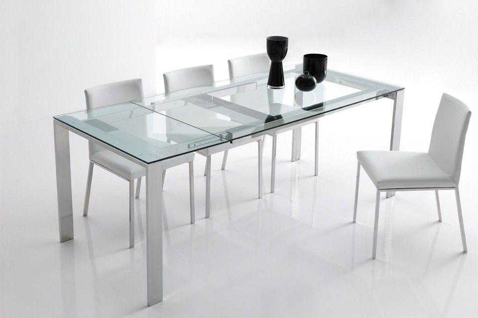 mesa de comedor contemporánea / de vidrio / de metal