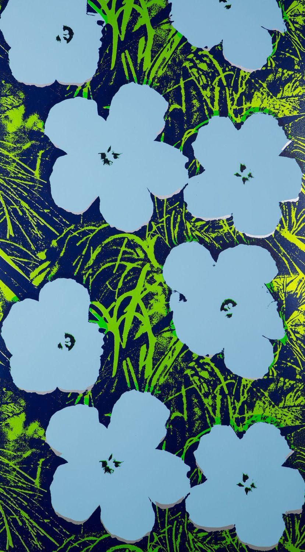 Fiori Warhol.Papel Pintado Contemporaneo De Poliester De Flores Dorado