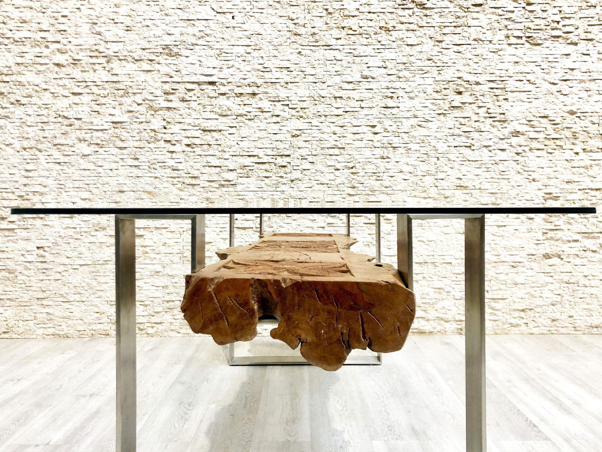 mesa de comedor de diseño original / de madera exótica / de cristal / de  acero inoxidable
