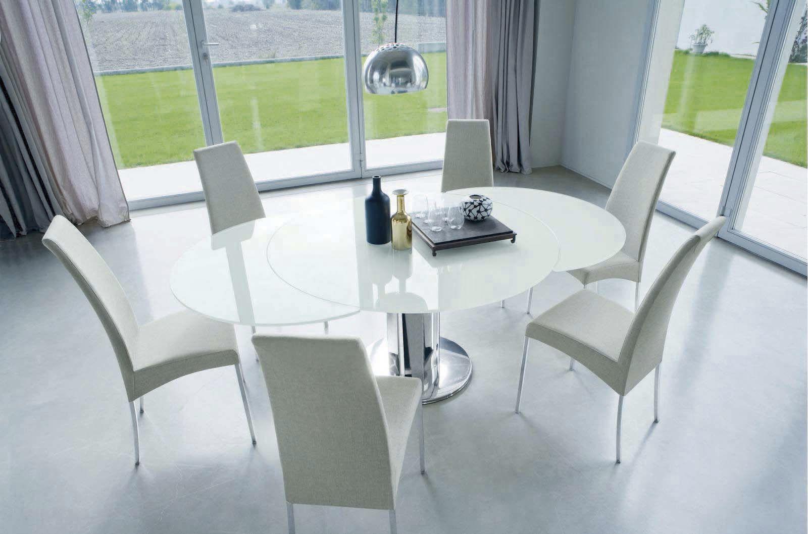 mesa contemporánea / de vidrio / redonda / extensible