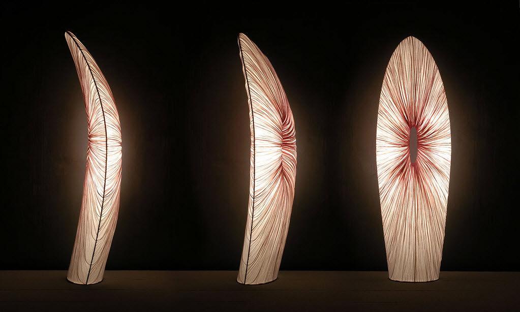 regulable Lámpara pie original de diseño de de seda DH9EIYW2eb