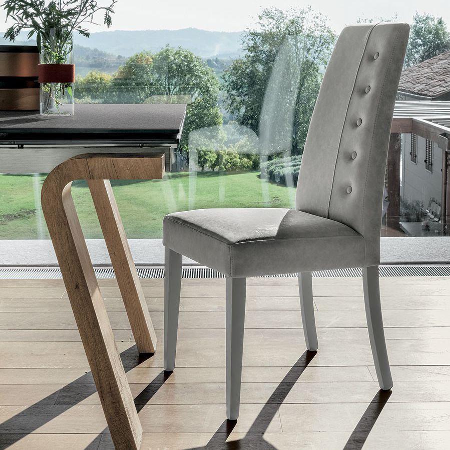 silla de comedor vintage / tapizada / de madera lacada / gris
