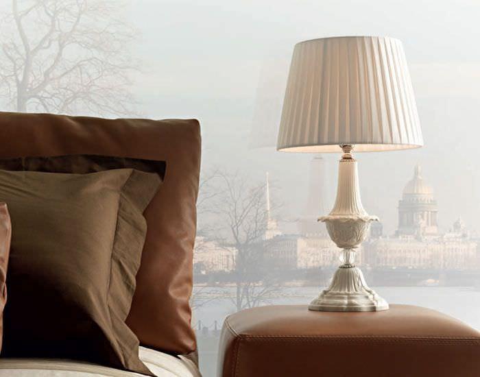 VINTAGE mesa Lámpara de de de estilo de cristal seda OPknw0