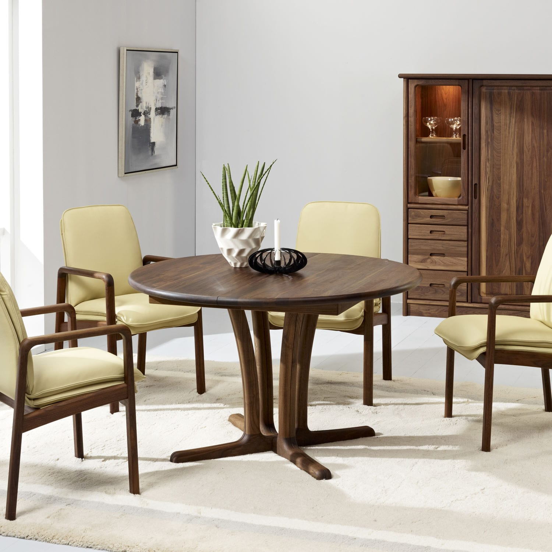 mesa de comedor moderna / de nogal / redonda / extensible