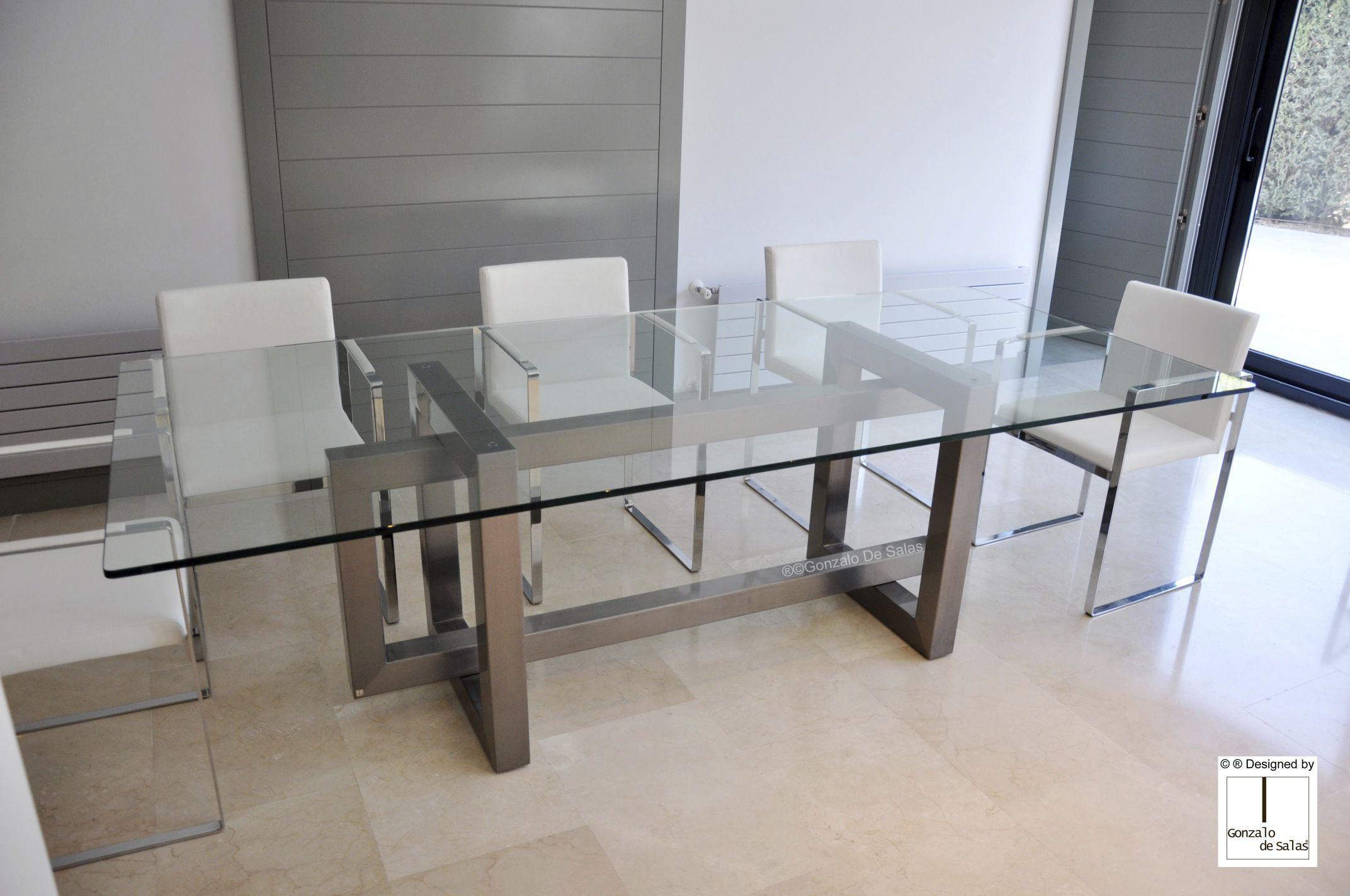 Mesa de comedor contemporánea / de metal / de hierro / de ...