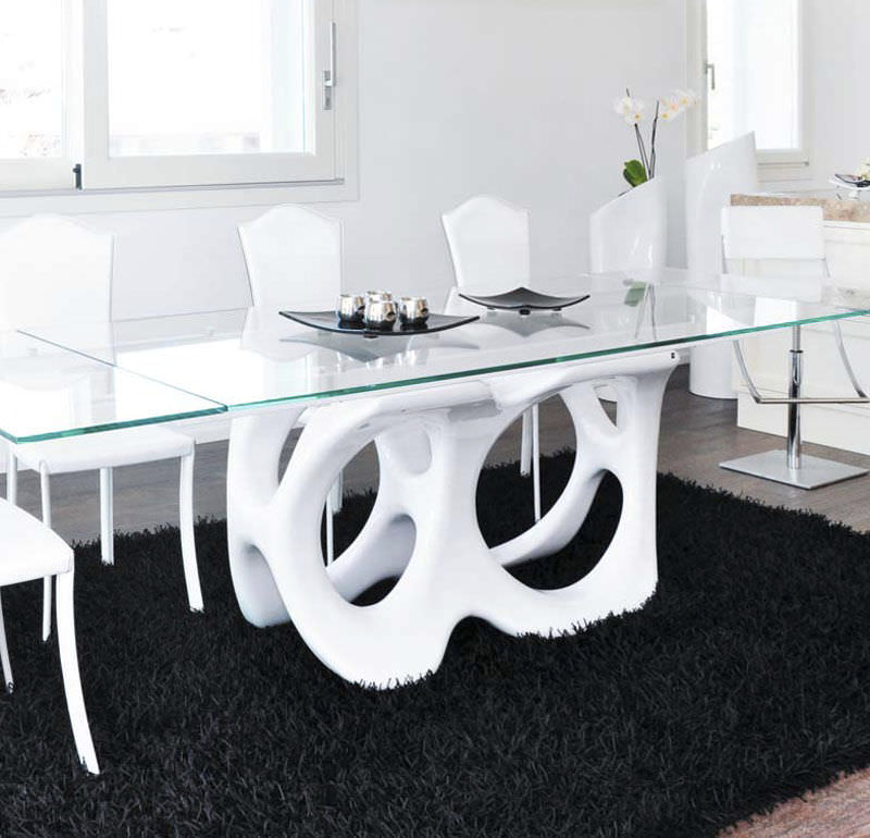 Mesa de comedor de diseño original / de vidrio templado / de ...