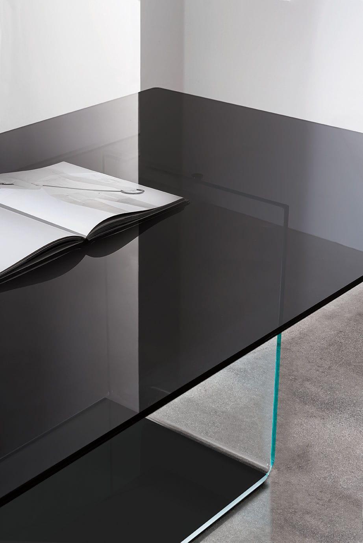Mesa de comedor moderna / de vidrio templado / rectangular ...
