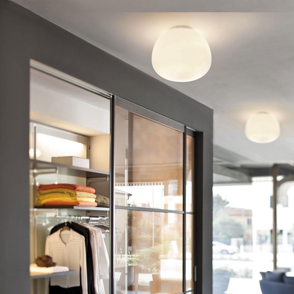 Plafón de soplado moderno de redondo vidrio metal O8wPkNZXn0