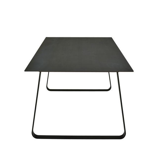 Mesa de comedor moderna de metal de gres porcelánico