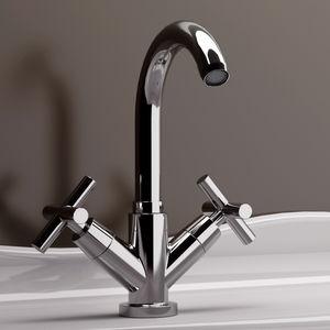 grifo mezclador para lavabo / de libre instalación / de latón cromado / de baño