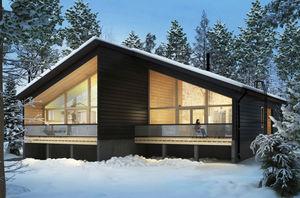 casa dúplex / moderna / con armazón de madera / de vidrio