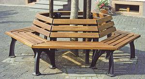 guarda-árboles de hierro fundido / de madera / con banco público integrado