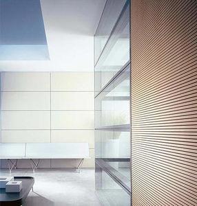 tabique desmontable / fijo / de madera / de vidrio