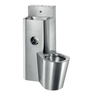 inodoro de pie / de acero inoxidable / para baño público / con lavabo integrado