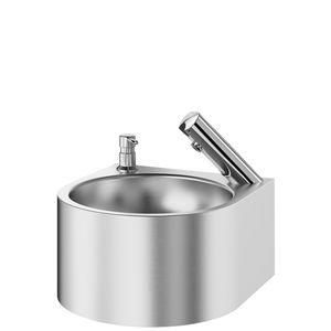 lavamanos suspendido / redondo / de acero inoxidable / para el sector servicios