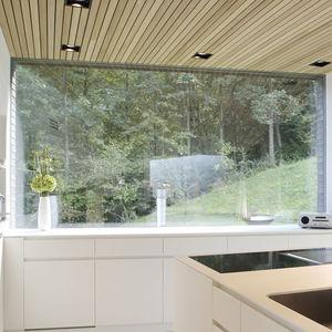 ventana corredera / fija / de metal / con vidrio doble