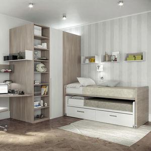 habitación para niños blanca / marrón / de madera lacada / de aluminio lacado