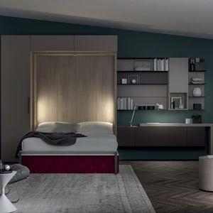cama abatible / de matrimonio / contemporánea / con almacenamiento