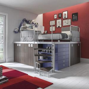 habitación para niños azul / gris / roja / de melamina