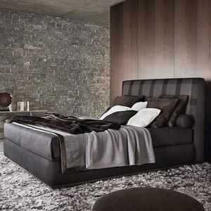 cama de matrimonio / contemporánea / tapizada / de algodón