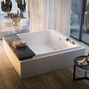 bañera independiente / cuadrada / de fibra acrílica / para cromoterapia