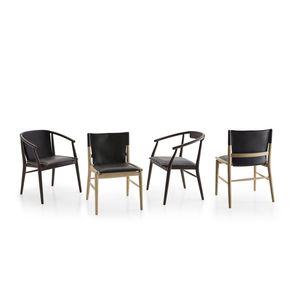 silla contemporánea / con reposabrazos / tapizada / de roble