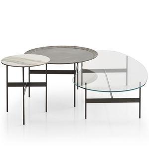 mesa de centro contemporánea / de roble / de vidrio / de acero pintado