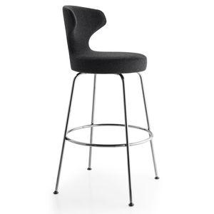 silla de bar contemporánea / tapizada / de tejido / de acero
