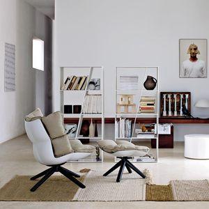 sillón bajo contemporáneo / de tejido / de cuero / de acero