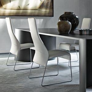 silla contemporánea / tapizada / patín / de tejido