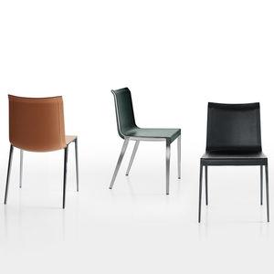 silla contemporánea / de cuero / de aluminio / marrón