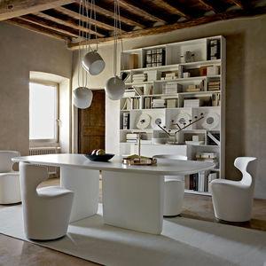 silla contemporánea / giratoria / tapizada / con base central
